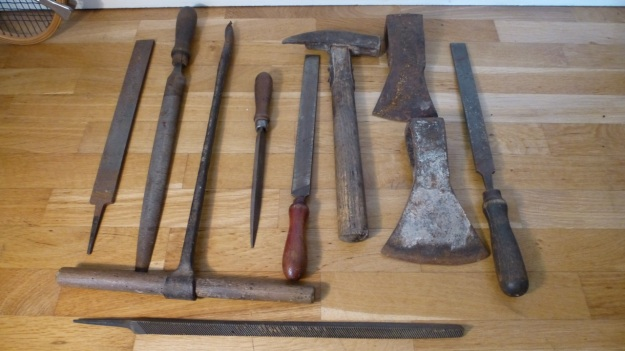old tools, anchor, heart and cross axehead full collection