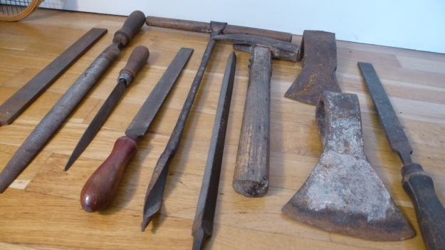 old tools, anchor, heart and cross axehead full toolset
