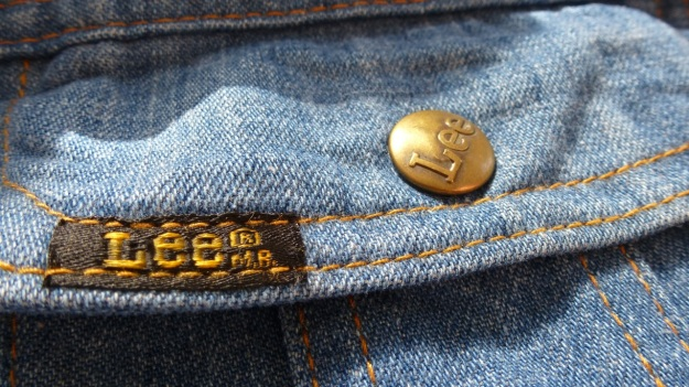 vintage lee denim shirt - pocket logo and brass logo button