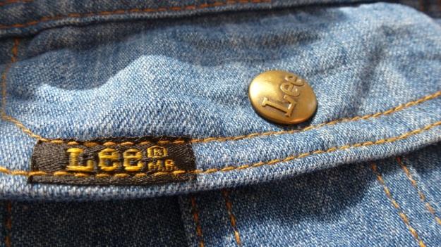 vintage lee denim shirt - pocket logo and brass logo button