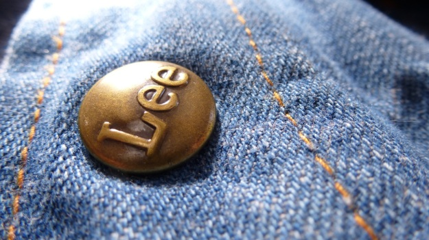 vintage lee denim shirt lee brass button closeup