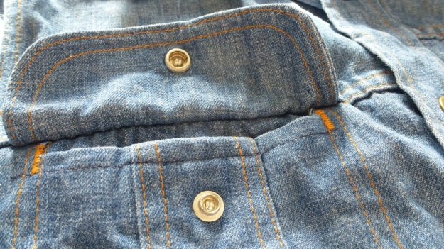 vintage lee denim shirt pocket seams and stitching