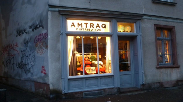 Amtraq Distribution visit - Sachsenhausen outside shopwindow
