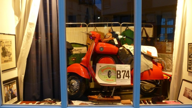Amtraq Distribution visit - red vespa scooter shopwindow