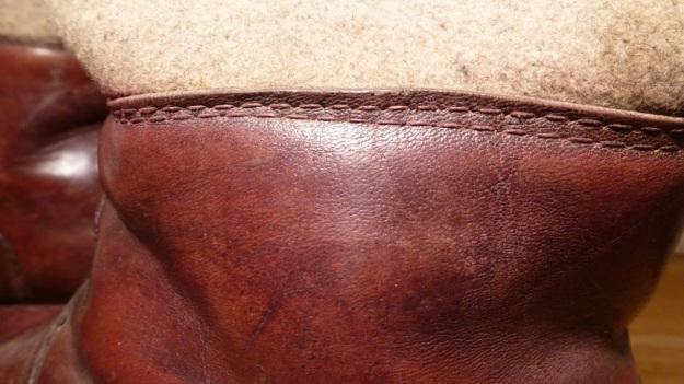 brown felt boots - santa claus stitching details