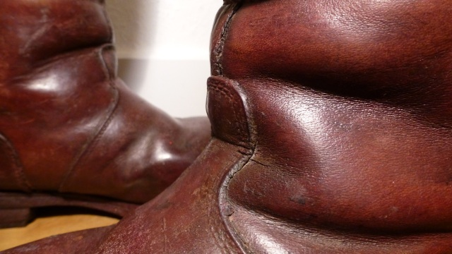 brown felt boots - santa claus front chestnut leather details