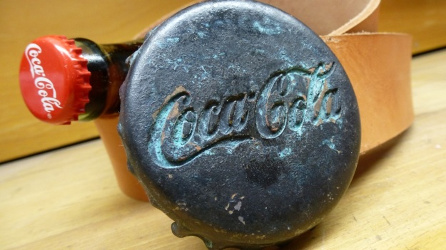 Coca Cola Belt Buckle and Ring bronze aged by feinschmuck