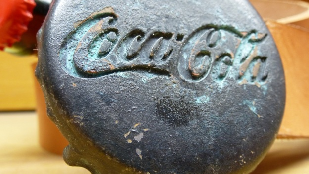 Coca Cola Belt Buckle and Ring bronze patina collector by feinschmuck