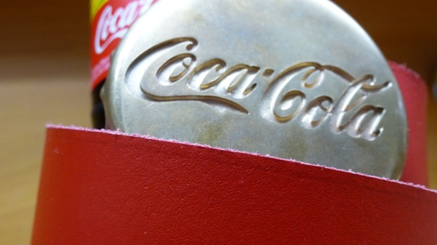 Coca Cola Belt Buckle and Ring bronze red belt by feinschmuck