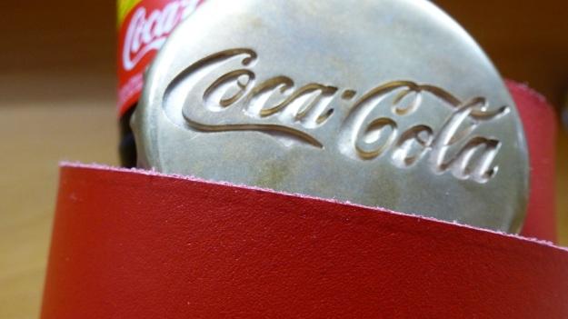 Coca Cola Belt Buckle and Ring bronze red belt by feinschmuck