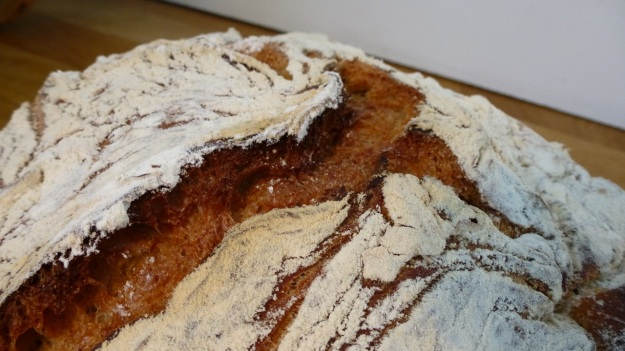 oxtail soup - ochsenschwanzsuppe homemade fresh bread loaf