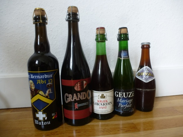 5 bottles of belgian beer