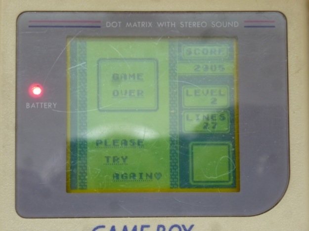 Nintendo Gameboy - Tetris game over