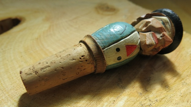 vintage carved wooden bottle stopper