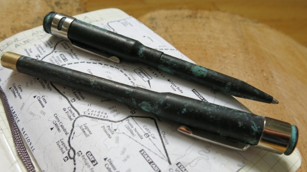 Brass Cartridge Pen patinated by Feinschmuck 107