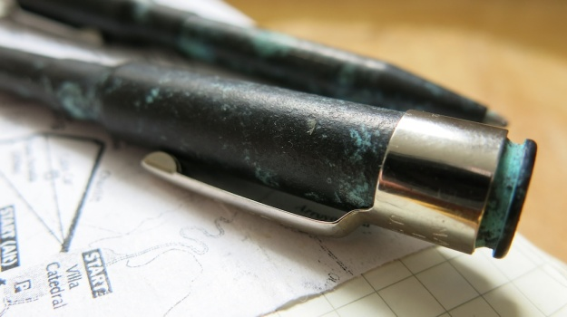 Brass Cartridge Pen patinated by Feinschmuck 108