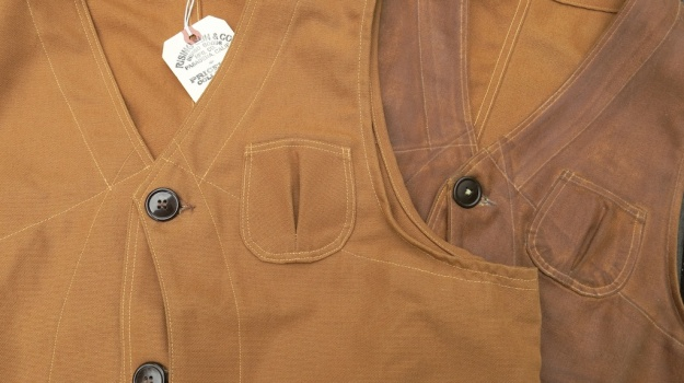 Rising Sun Outdoor Vest Raw Brown Otter waxed  490
