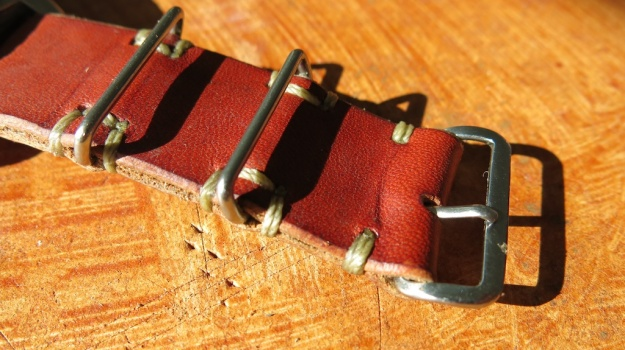 DIY hand sewn Nato leather watch strap 732