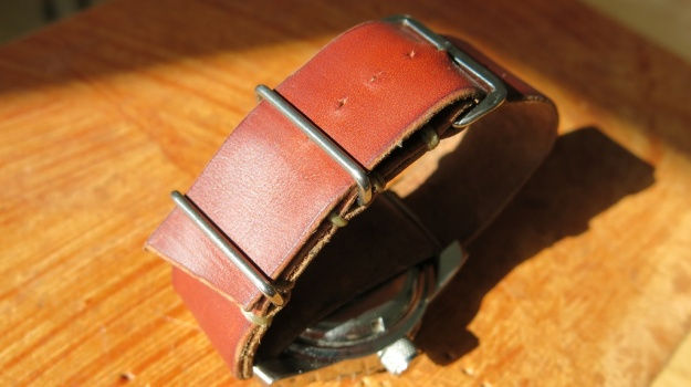 DIY hand sewn Nato leather watch strap 735