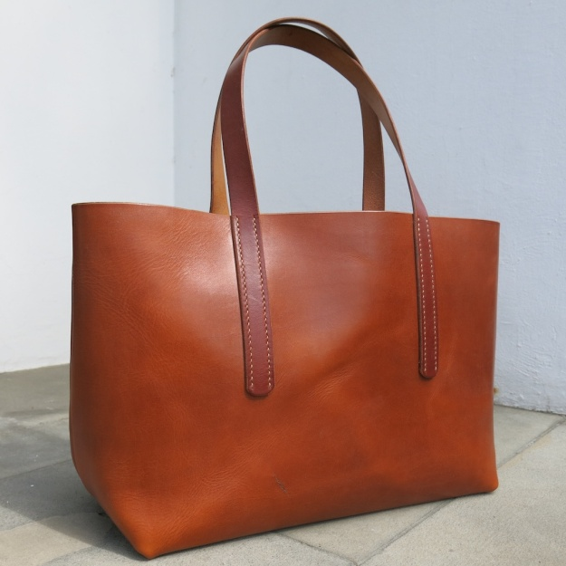 be-cause leather tote bag hand sewn  101
