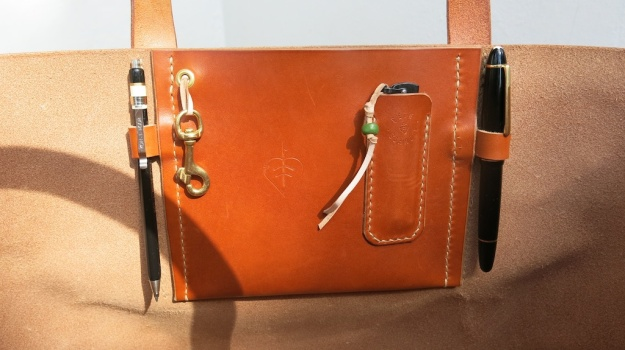 be-cause leather tote bag hand sewn  103