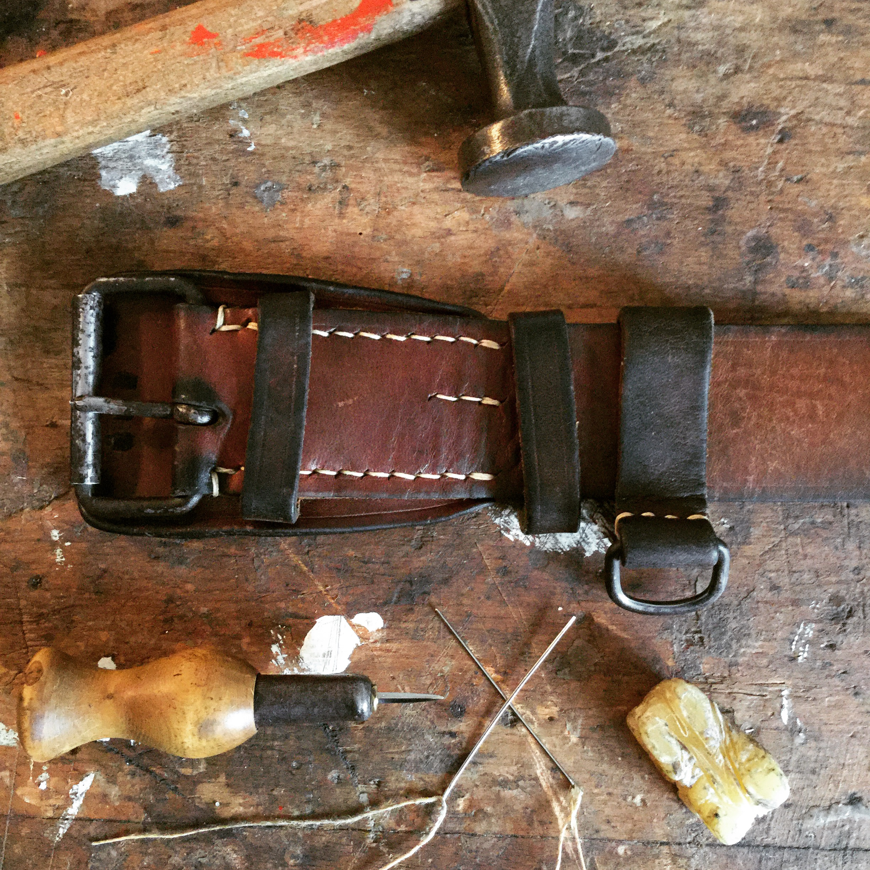 Yugoslavian Military Leather belt – refurbished | be-cause