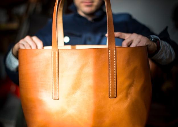 Tote Bag Cognac Handgenäht
