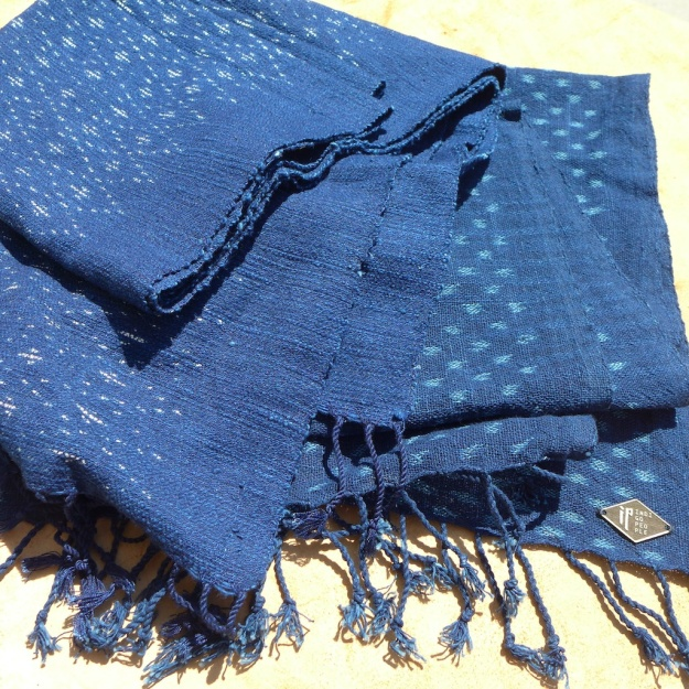 Natural Indigo People Scarf Otobe Abira ikat pattern  3507