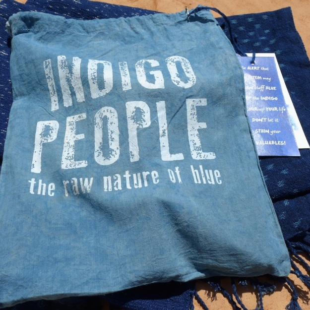 Natural Indigo People Scarf Otobe Abira ikat pattern  3501