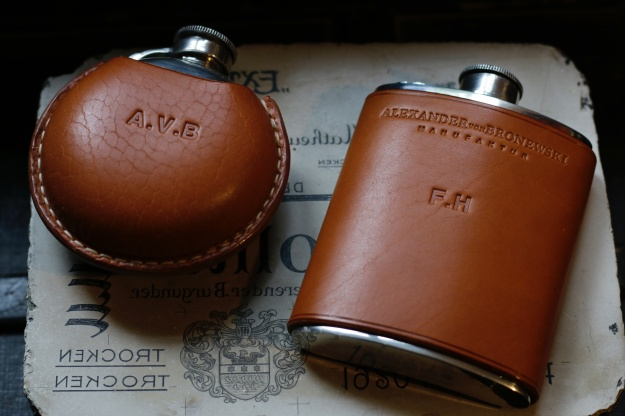 leather covered flask pewter initials monogrammed letters